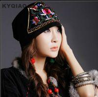 KYQIAO 2017 zomer hoeden bandana origineel borduurwerk bloemen vintage cap etnische hoed voor vrouwen