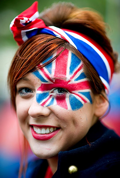 A spectator from Bedfordshire eally getting into the spirit of things at the Royal Wedding of William and Kate! England