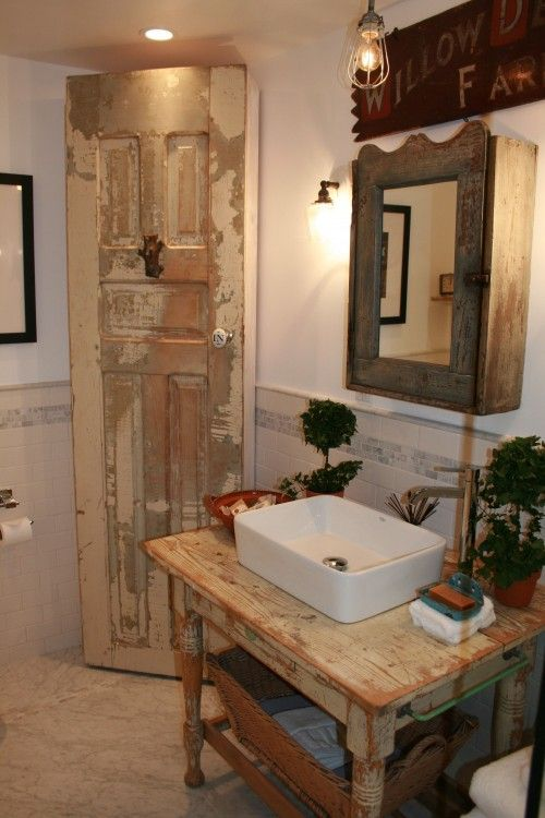 corner cabinet using old door. Really cool.