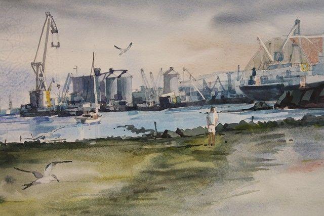 Durban Sugar Terminal 1  Watercolour -  230 x 350 -   SOLD