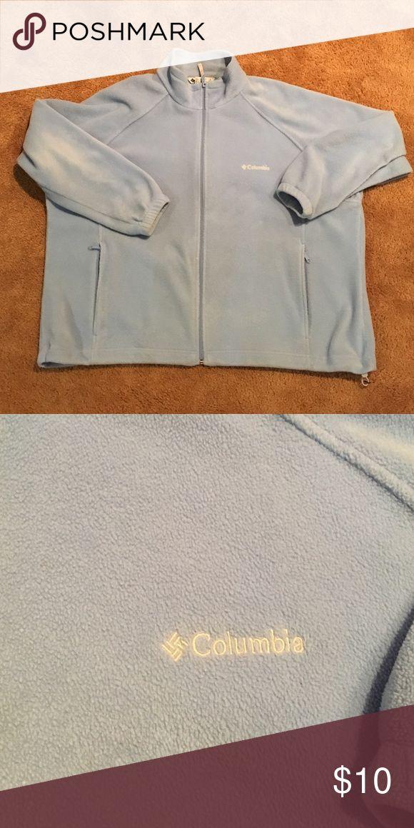 Columbia light blue sweater jacket. SZ:3X Columbia light blue sweater jacket. SZ:3X. Shows wear from washing. Columbia Sweaters