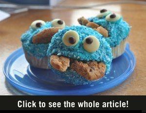 Koekiemonster cupcakes! Recept: http://www.vrouwen.nl/view/5498 #cupcake #recept
