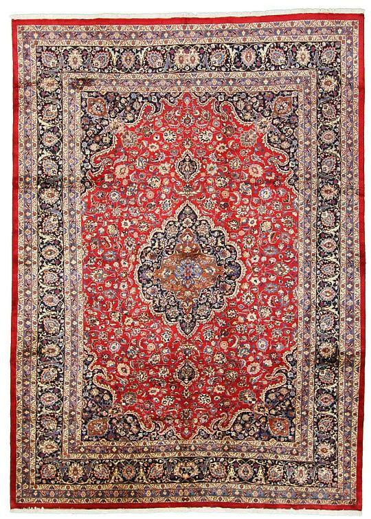 345cm x 478cm Red Mashad Persian Rugs