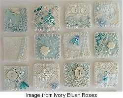 Lisa of Ivory Blush Roses blog created a delicious bit of crazy quilting and then (talk about crazy!) cut it up! As she embellishes the 1″ x 1″ pieces and finishes their edges with blan…