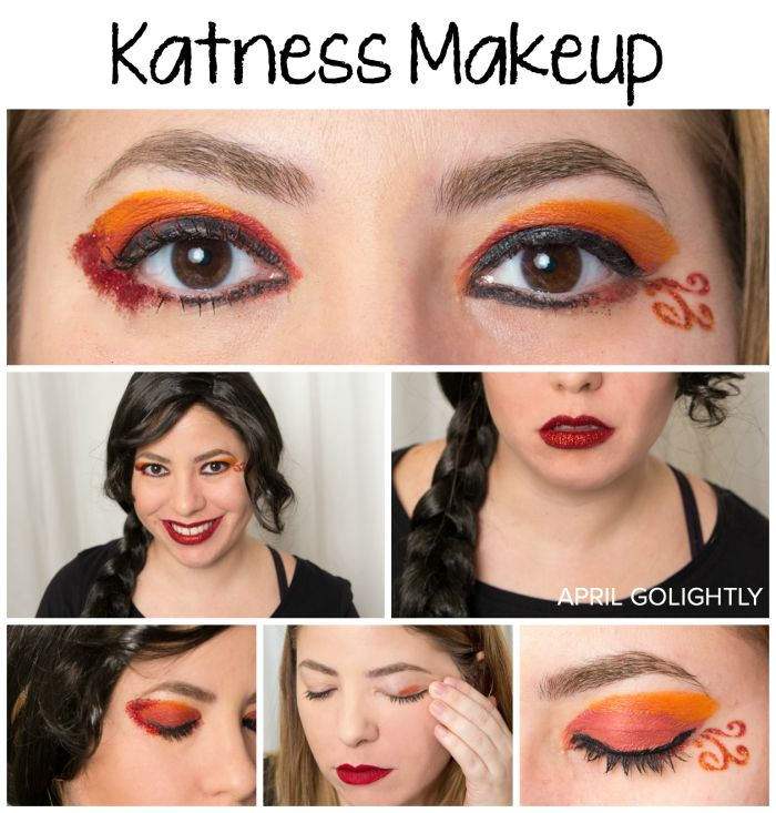 Easy Katness Makeup Tutorial from the Hunger Games Catching Fire inspired #TulipBodyArt #sp flames eye makeup and red glitter lips