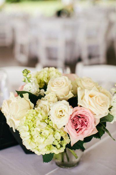 Roses + Hydrangeas | Wedding Centerpiece | Riverland Studios