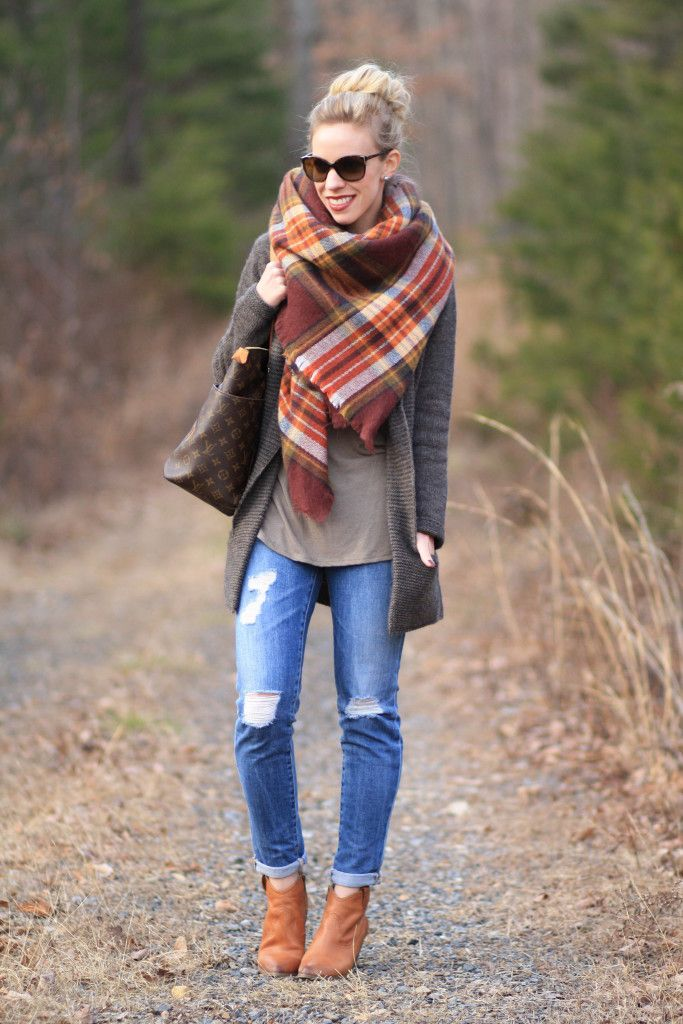 Feels Like Home: Zara plaid blanket scarf, brown, yellow and orange plaid scarf, long boyfriend cardigan, AG Adriano Goldschmied distressed denim, Frye 'Reina' camel leather western ankle boots, how to style blanket scarf, tying a blanket scarf, Louis Vuitton 'Totally MM' tote, oversized layers