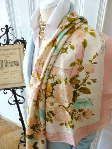 Authentic Vintage Hermes Silk Jacquard Scarf Romantique Rare