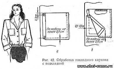 § 12.3 Обработка накладных карманов и соединение их с изделием - Глава 1 - Технология женской и детской лёгкой одежды - Всё о шитье - Шей сама
