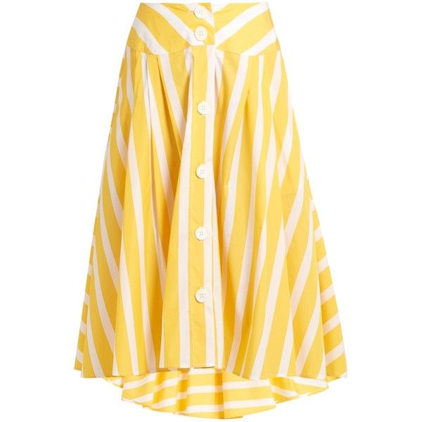 Thierry Colson Romane striped cotton-poplin skirt ($598) ❤ liked on Polyvore featuring skirts, bottoms, yellow stripe, stripe skirt, striped skirts, knee length summer skirts, asymmetrical skirt and striped flare skirt