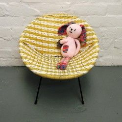 Childs vintage woven basket chair in yellow and white www.vintageactually.co.uk