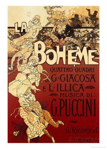 La Bohème, musique de Puccini Affiche par Adolfo Hohenstein sur AllPosters.fr