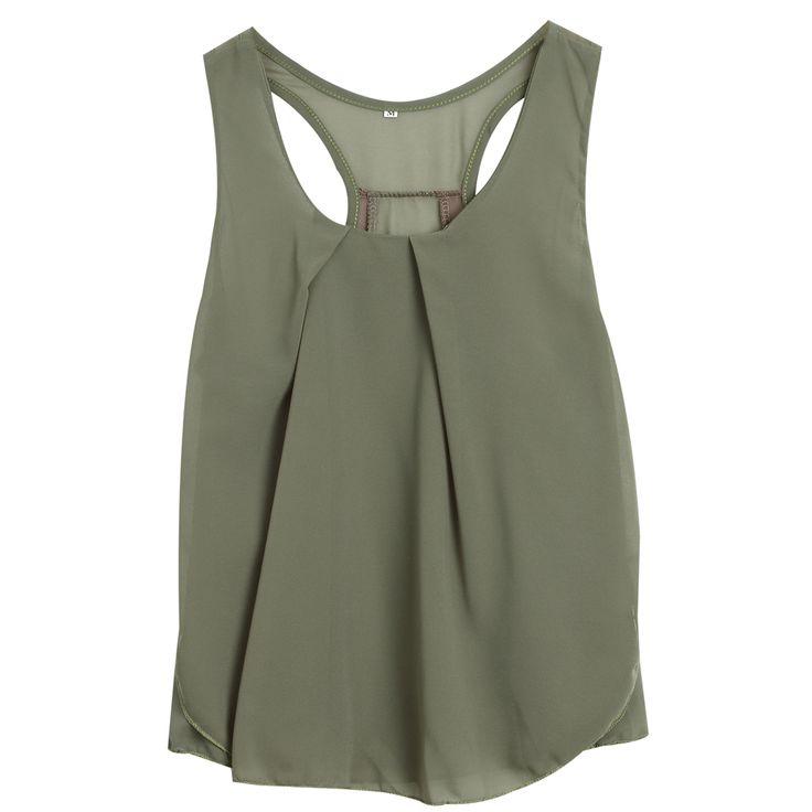 Fashion army green white plus size chiffon top bottoming sleeveless chiffon camisole vest female woman summer chiffon tank tops