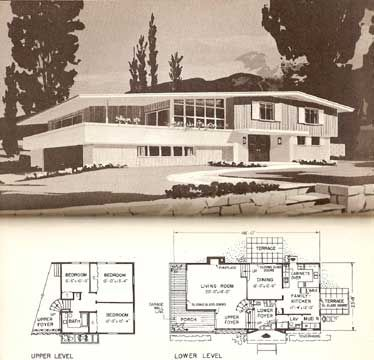 two level mid century homes google search - Mid Century Modern Home Plans