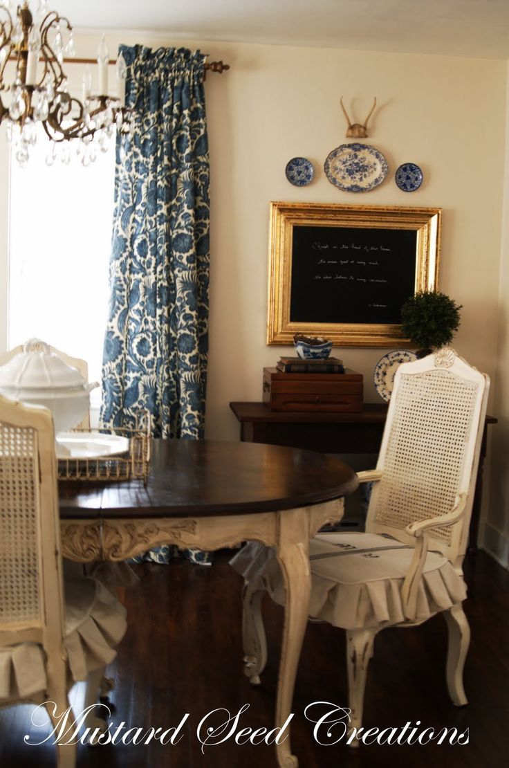 Love the Frnech country look, the blue and white, the drop cloth slip covers.