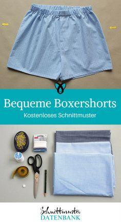 Boxershorts nähen kostenloses Schnittmuster Nähanleitung Geschenk für Männer Unterwäsche Nähen