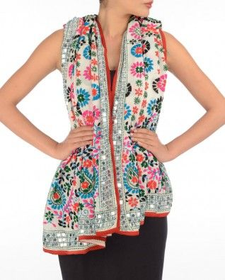 #Exclusivelyin, #IndianEthnicWear, #IndianWear, #Fashion, Off White Phulkari Dupatta with Multicolor Embroidery