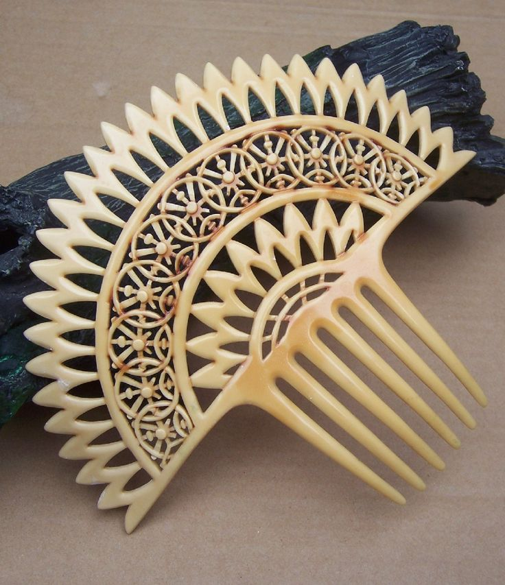 Vintage hair comb French ivory Spanish comb by DragonsLairVintage