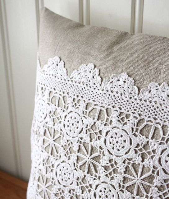 Linen and lace .. #crochet_pillow cushion ... inspiration GB