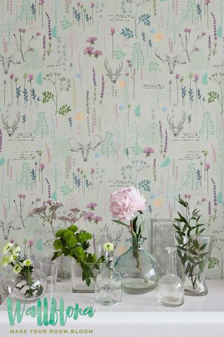 Seemleas Vinatge Pattern Wallpaper | Removable Wallpaper | Vintage Wall Decal | Deer Wall Sticker | Vinatge Self Adhesive Wallpaper
