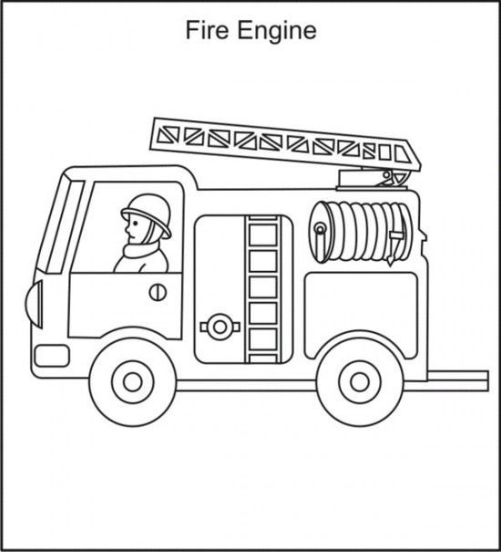 free printable fire truck with 2 person coloring pages for kids ...