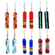 Large Rectangular Fused Glass Earrings