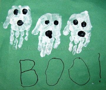 Handprint and Footprint Arts & Crafts: Halloween Handprint & Footprint Ghosts