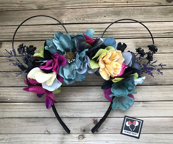 Sally, The Nightmare Before Christmas Inspired Wire Mickey Ears with Floral Crown   Minnie Ears   Mickey Ears   Free Shipping