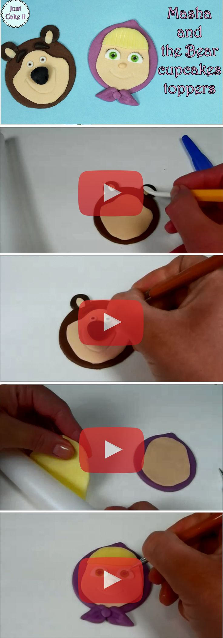 Easy step by step tutorial for Masha and the Bear cupcakes toppers fondant decoration, watch the tutorial here https://www.youtube.com/watch?v=d_5TXVrEuxA