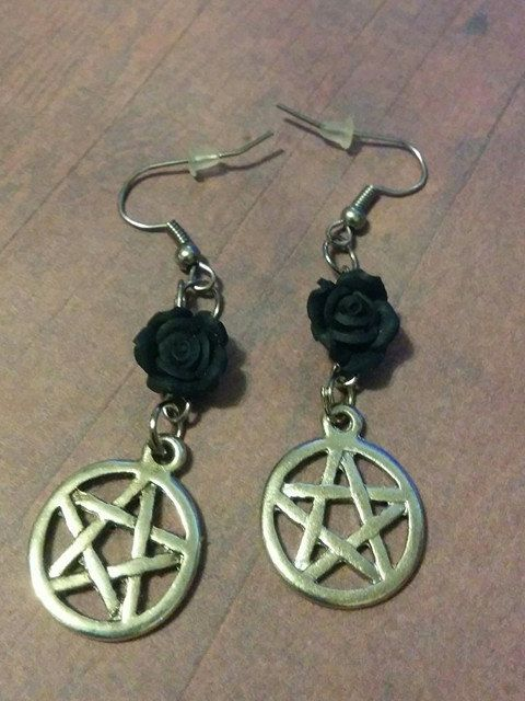 Black Rose Pentagram Earrings - jewelry - christmas - jewellery - pagan - silver charm - gothic - witchcraft - gifts under 10 - supernatural by Blackrose37 on Etsy