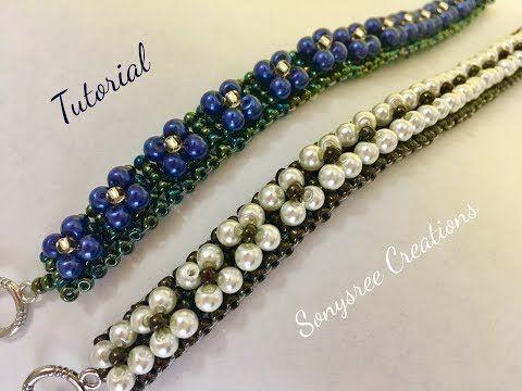 Pearl Blossom bracelet( Square Stitch) - YouTube