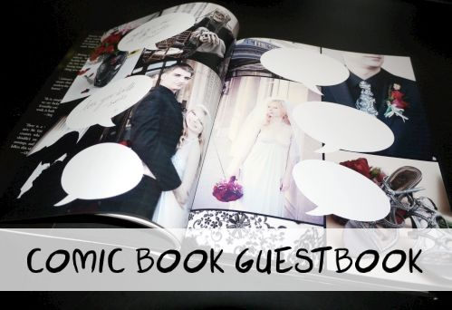 Amazing idea! Comic Book Guestbook. Credit: WhenGeeksWed.com. You could have pictures of each quest and a speech bubble so they can all write in their own!