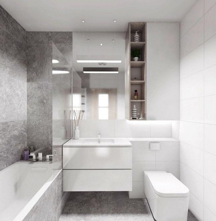Bad in zwei aufgeteilt graue und wei e fliesen f r jede zone bad pinterest salle de - Zone salle de bain ...