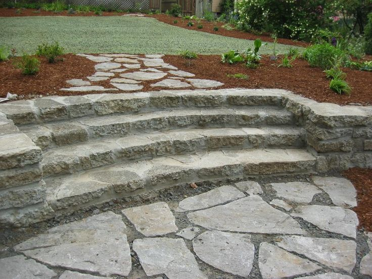 Recycled concrete steps, seat wall; split stone patio, walk; hydroseed lawn 2007 048 (6).jpg by The Garden Angels Landscape Design & Consulting
