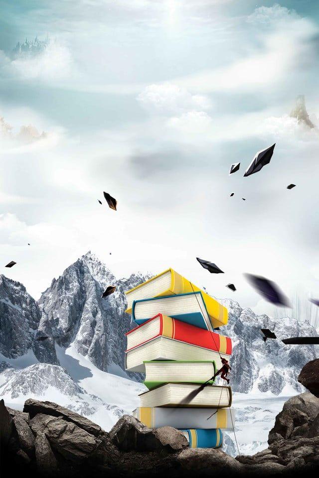 قراءة كتاب اليوم الاصطناعية الثلوج تسلق الجبال الإعلان الخلفية يوم القراءة كتاب تركيب جبل الثلج تسلق Reading Day Mountain Images Cartoon Background