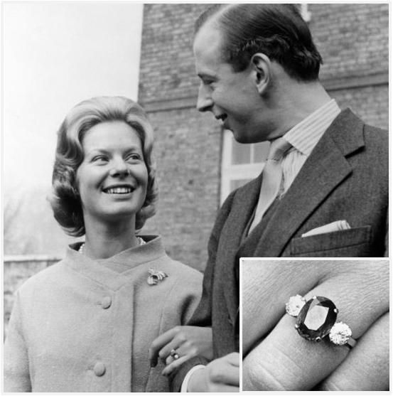The engagement ring given to Miss Katherine Worsley by the Duke of Kent (cousin of Queen Elizabeth II).