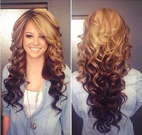 I love the look of this ombre hair color curled! its bootiful!