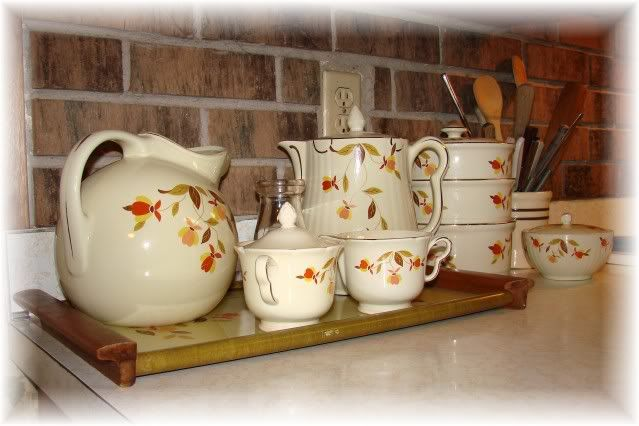 I remember her having a set of Jewel Tea dishes; I have the tea pitcher that's pictured here.
