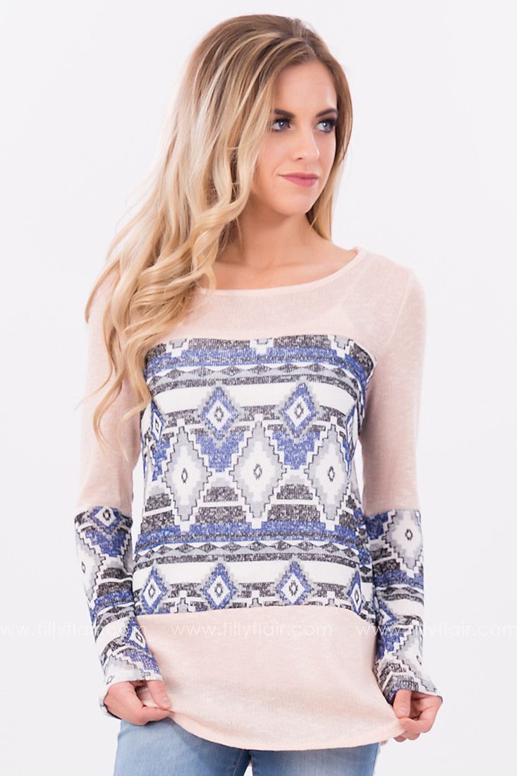 On a High Aztec Long Sleeve Top in Peach