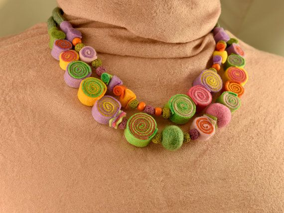 Multi strand felt necklace-Monet colors-Double wrap necklace-Layered necklace-Statement necklace-Felt necklace-Felt jewelry-READY TO SHIP  ► BEFORE