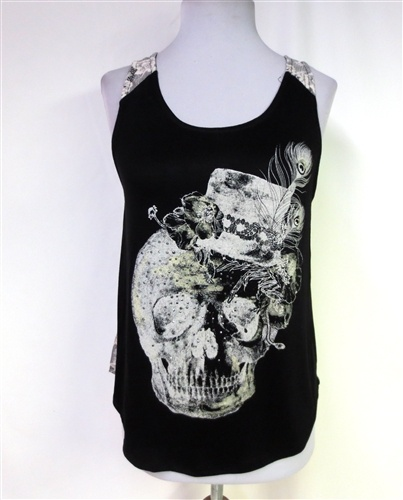 """The """"Bad Hatter"""" Tank w/ lace back-NEW! $28.50 S/M/L"""