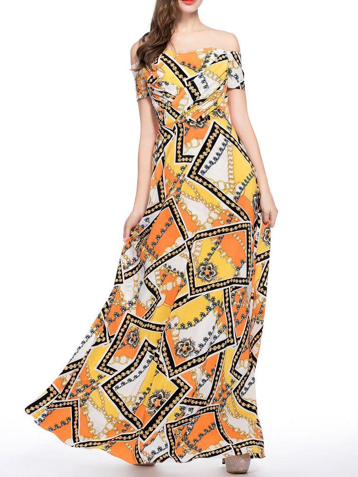 #AdoreWe #StyleWe Designer Maxi Dresses - Designer CICI WANG Orange Short Sleeve Printed Off Shoulder Maxi Dress - AdoreWe.com
