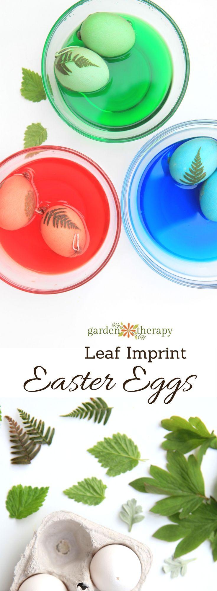 How to make dyed leaf imprint Easter eggs using botanicals. #gardentherapy #easter #easteregg #garden #leaf #naturecraft
