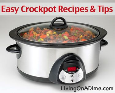 10 crockpot recipes and tips that can save money and the time you have to spend preparing meals, allow you to prepare more healthy meals for your family and reduce your overall stress. Click here for 10 crockpot tips and recipes http://www.livingonadime.com/easy-crockpot-tips-and-recipes/