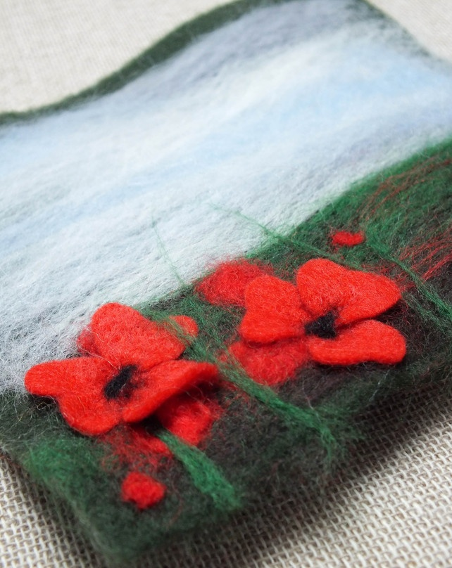"""NOVEMBER 2012 - Poppies - Yorkshire Dales Inspired. Poppy Felt """"Painting"""". Red Flowers. Merino Wool., by The Mucky Pup Gallery, £15"""