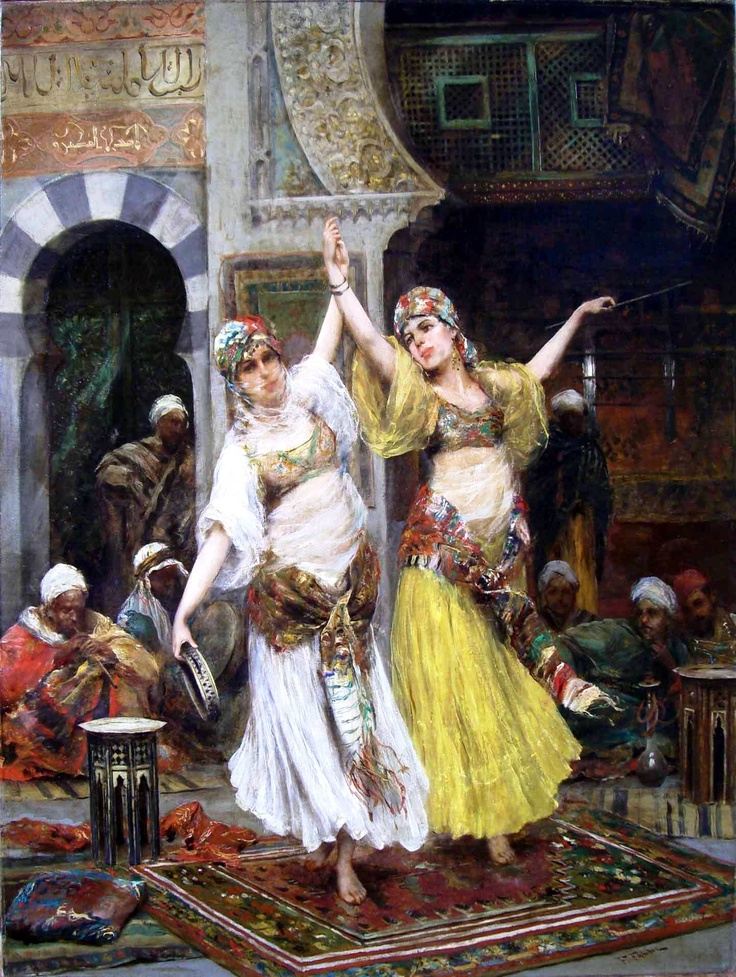 "Fabio Fabbi (1861-1946) - Harem Dancers. Oil on Canvas. Circa 1890. 28"" x 23""."