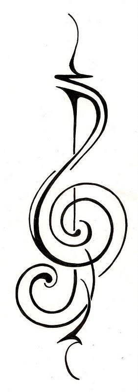 Music Treble Clef Tattoo Design