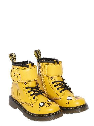 DR.MARTENS - JAKE THE DOG LEATHER ANKLE BOOTS - YELLOW