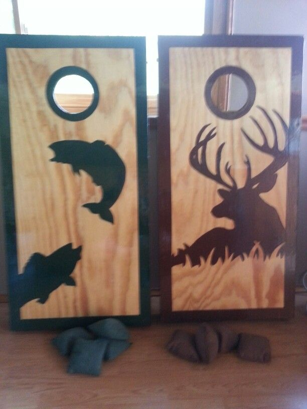 homemade corn hole games my daughter draw the silhouettes - Cornhole Design Ideas