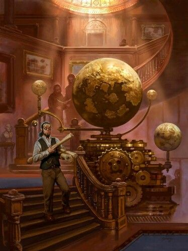 Globes in a library, steampunk / fantasy setting inspiration